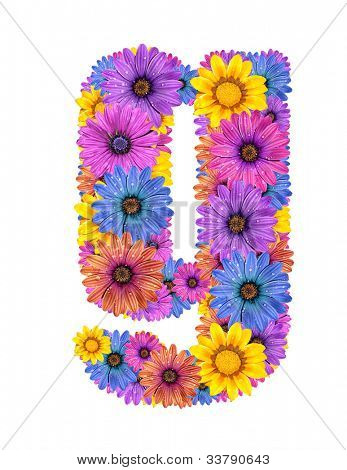 Alphabet of colorful dewy flowers, g