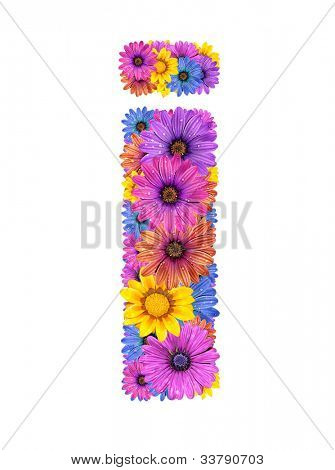 Alphabet of colorful dewy flowers, i
