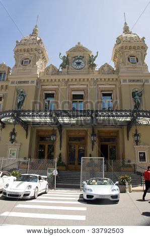 Entrance Monte Carlo Casino With Grand Prix Racing Cars For The Race