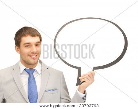 bright picture of smiling businessman with blank text bubble