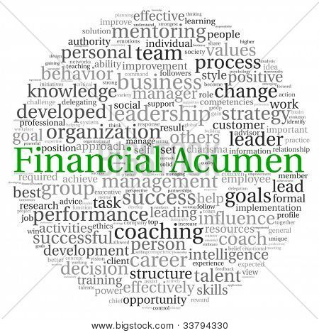 Financial Acumen concept in word tag cloud on white background