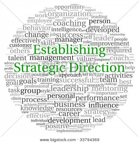 Establishing Strategic Direction concept in word tag cloud on white background
