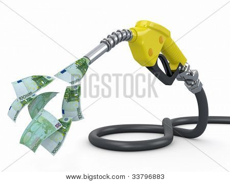 Gas pump nozzle and euro on white background. 3d