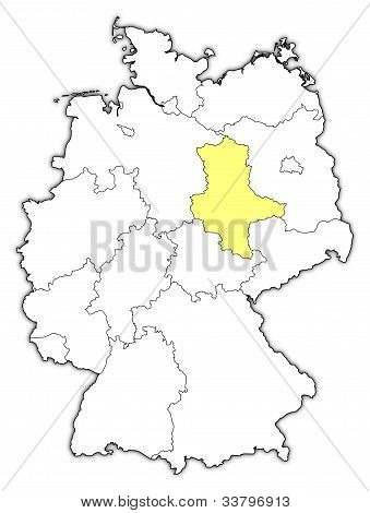 Map Of Germany, Saxony-anhalt Highlighted