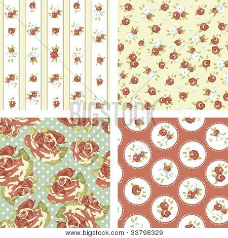 Shabby Chic set, 4 Vintage rose patterns. Seamless vector. Rose wallpaper