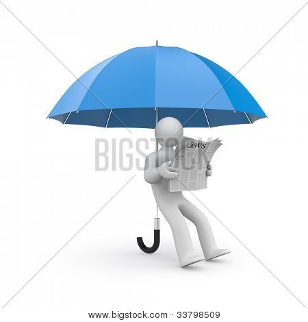 Person reads newspaper huddled under umbrella. Image contain clipping path