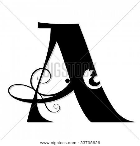 calligraphic letter A isolated on white background