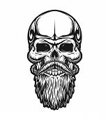 Skull With Beard And Mustaches, Vector Icon For Hipster Barber Shop, Tattoo And T-shirt Print. Man S poster
