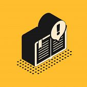 Isometric Interesting Facts Icon Isolated On Yellow Background. Book Or Article Sign. Exclamation Ma poster
