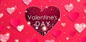 Valentines Day Banner With Shiny Glitter Hearts.pink Abstract Background With Papercut Heart, Shimer poster