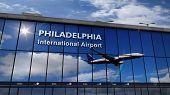 Jet Aircraft Landing At Philadelphia, Pennsylvania, Usa, America 3d Rendering Illustration. Arrival  poster
