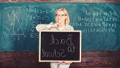 Start School Year. Top Ways To Welcome Students Back To School. Teacher Woman Hold Blackboard Inscri poster
