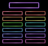 Bright Colors Neon Web Buttons Set For Website Design Template Isolated On Black Background. Bright  poster