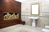 stock photo of lavabo  - Italian style bathroom with ancient mosaic and logwood - JPG