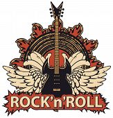 Vector Music Banner With Lettering Rock And Roll, An Electric Guitar, White Wings, Speaker And Fire. poster