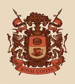 Vector Banner On The Theme Of Coffee House In Form Of Hand-drawn Medieval Coat Of Arms With Words Ro poster