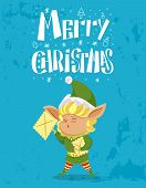 Merry Christmas Greeting Card. Elf Holding Letter, Xmas Creature Wearing Traditional Costume. Callig poster