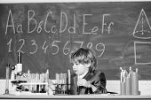 Basic Knowledge Primary School Education. Educational Experiment. Happy Childhood. Boy Near Microsco poster