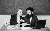 Teacher And Supervisor Working In School Classroom. School Educator With Laptop And Principal With O poster