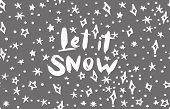 Let It Snow Lettering Phrases And Graphic Illustrations Template. Greeting Card Invitation With Xmas poster