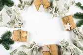 Christmas Gift Flat Lay. Zero Waste Gift Wrapping Holiday Season Eco-friendly Lifestyle. Craft Boxes poster