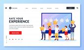Customer Online Feedback And Rating Concept. Vector Flat Cartoon Illustration For Web Landing Page,  poster