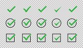 Set Of Green Check Mark Isolated Vector Icons. Vote Symbol Tick. Approved Icon. Check Mark Icon Set. poster