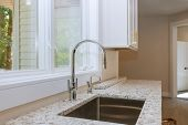 New Classic Kitchen In Modern Style A New Ceramic Sink In Kitchen poster