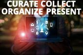 Writing Note Showing Curate Collect Organize Present. Business Photo Showcasing Pulling Out Organiza poster