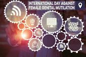Word Writing Text International Day Against. Business Concept For International Day Against Female G poster