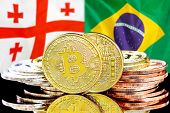 Concept For Investors In Cryptocurrency And Blockchain Technology In The Georgia And Brazil. Bitcoin poster