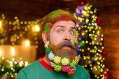 Decorated Beard. Bearded Man With Decorated Beard. Christmas Decoration. Christmas Holidays. Surpris poster