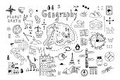 Symbols And Drawings For A School Geography Lesson, Set On A White Background. Hand Drawn Vector Doo poster