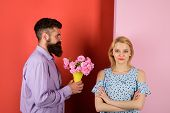 Love, Relationship, Dating. Man Giving Bouquet Of Roses To His Girlfriend. Couple In Love With Bouqu poster