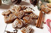 Medenjaci - Croatian Gingerbread Honey Cookies Christmas Gingerbread Cookies On White Background poster