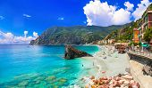 Monterosso al mare with great beaches, Cinque Terre national park in Liguria, Italy poster