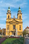 Beautiful Yellow Church In Budapest, Hungary. Religion. poster