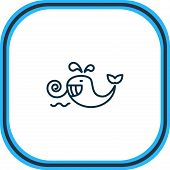 Vector Illustration Of Cetacean Icon Line. Beautiful Naval Element Also Can Be Used As Baleen Whale  poster