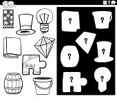 Black And White Cartoon Illustration Of Match Objects And The Right Shape Or Silhouette With Objects poster