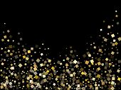 Glowing Gold Square Confetti Sparkles Flying On Black. Luxurious New Year Vector Sequins Background. poster