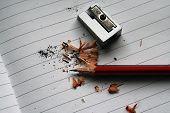 Pencil And Sharpener. Sharpening Pencil. School Pencil And Sharpener. poster