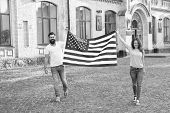 Belonging To American Nation. Happy Citizens Celebrating Independence Day. American Citizens Holding poster