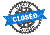 Closed Grunge Stamp With Blue Band. Closed poster