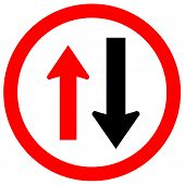Two Way Traffic Sign,approaching Cars Have Right Of Way Symbol,vector Illustration, Isolate On White poster