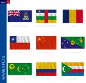 Waving Flag Collection In Official Proportion. 9 Vector Flags: Cayman Islands, Central African Repub poster