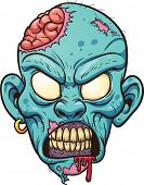 stock photo of growl  - Cartoon zombie head - JPG