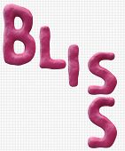 Bliss In A Pink Clay Word With A Light Damask Textured Background.  Great For Concepts Of Happiness, poster
