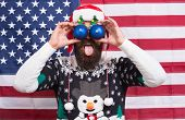 Big Eyes. Excited Look. Happy To See. Bearded American Man. Celebrate Christmas And New Year America poster