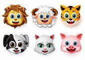Emojis And Emoticons Animal Happy Face Vector Set. Animal Emoji Face Of Lion, Lamb, Tiger, Dog, Cat  poster