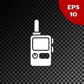 White Walkie Talkie Icon Isolated On Transparent Dark Background. Portable Radio Transmitter Icon. R poster